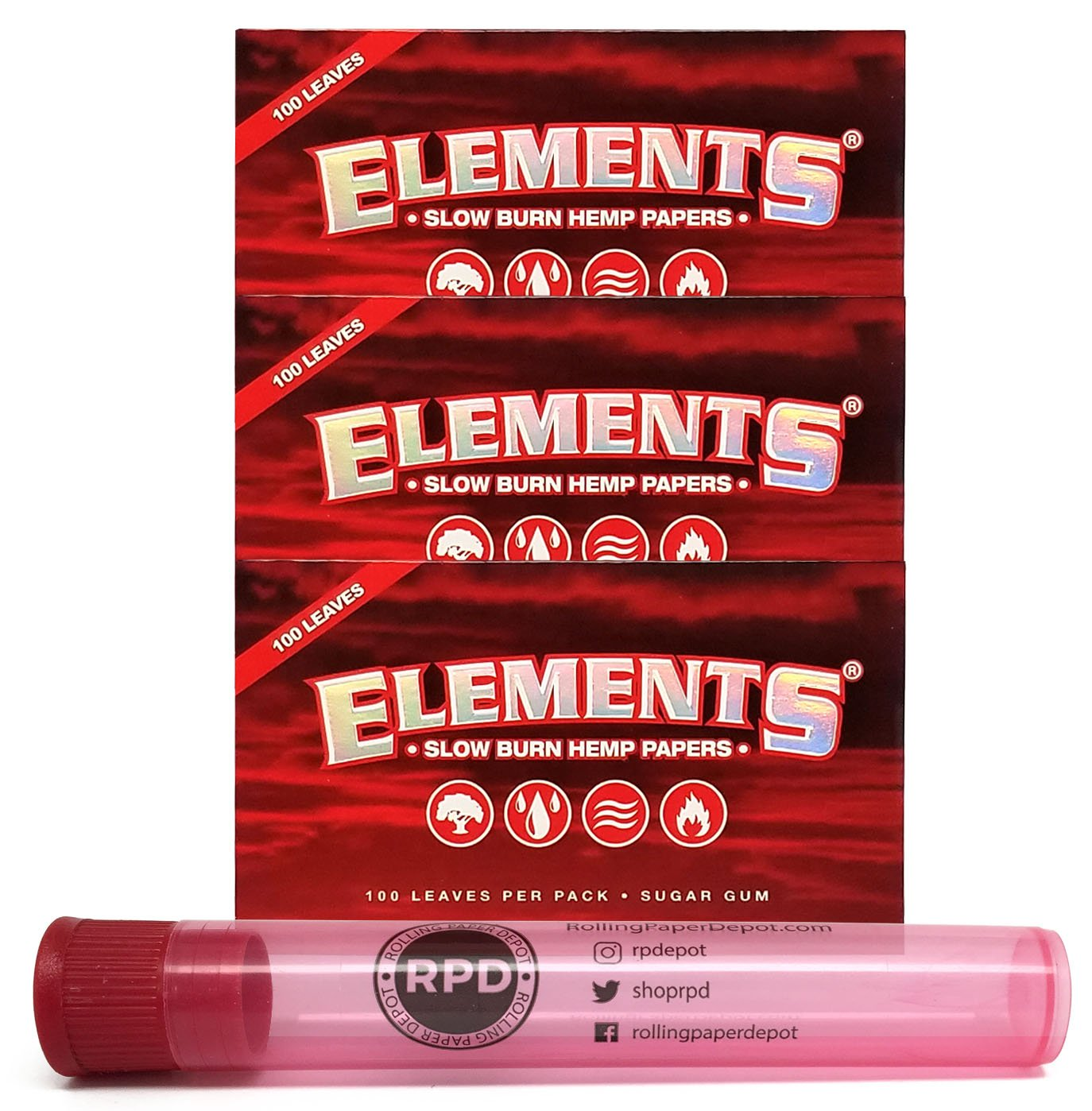 Elements Red Single Wide Slow Burn Hemp Papers (3 Packs) with Rolling Paper  Depot Doob Tube