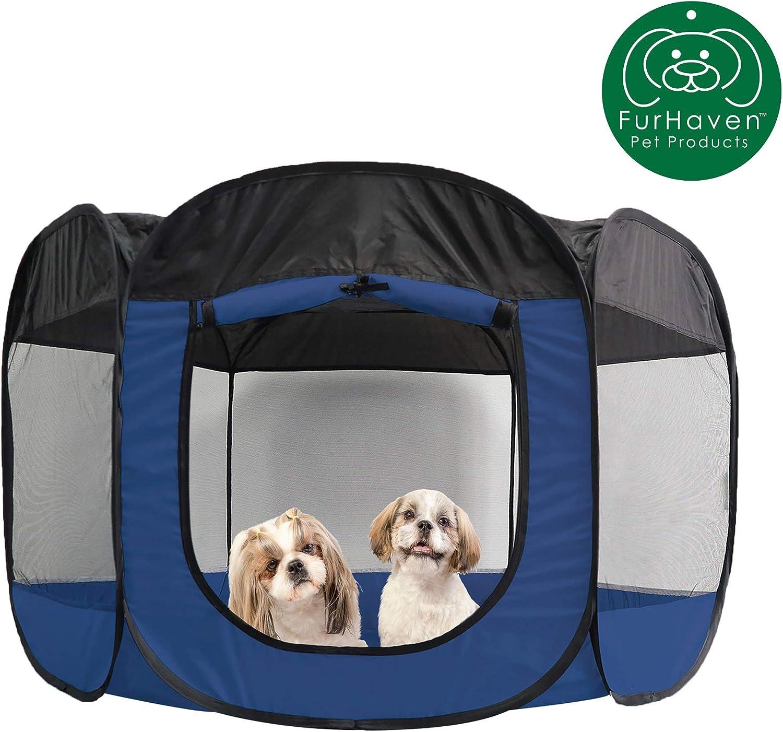 Indoor Outdoor Mesh Open Air Playpen Exercise Pen Tent House Playground For Dogs Cats Extra Large Sailor Blue Furhaven Pet Playpen Playpens Kolenik Pet Supplies