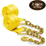 Two 4-in. X 30-Ft. Heavy-Duty Winch Straps with Chain End and Grab Hook, 16,200 Lbs. Break Strength | Chain TieDowns by…