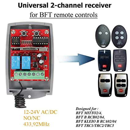 Universal 12~24V DC 2-Channel Receiver 433.92MHz Remote Rolling & Fixed Code