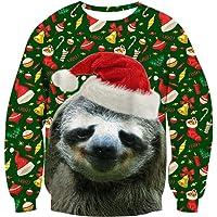 chicolife Navidad Jumper, Unisex Hombre para Sudadera Feo Divertido 3D Impreso Navidad gráfico suéter suéter Santa…