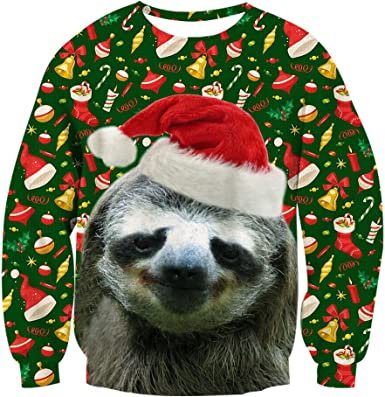 chicolife Weihnachts Pullover Herren Gr/áfico Pullover h/ässlich Sweatshirt Sweater lustige 3D gedruckt Xmas grafische Santa Sweatshirts S-XXL