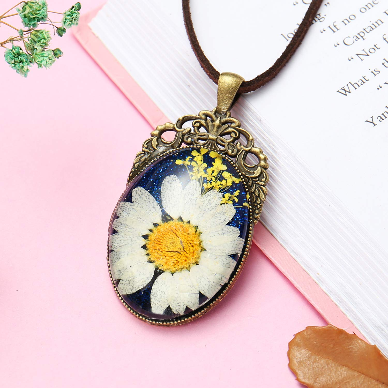 ElfElfElf ELF1441 Handmade Women\'s & Girls\' Necklace with Real Dry Flower White 5