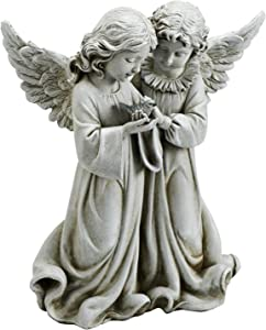 Josephs Studios Garden Figure, 66745 Two Angels Holding a Bird, 12.25 inches tall