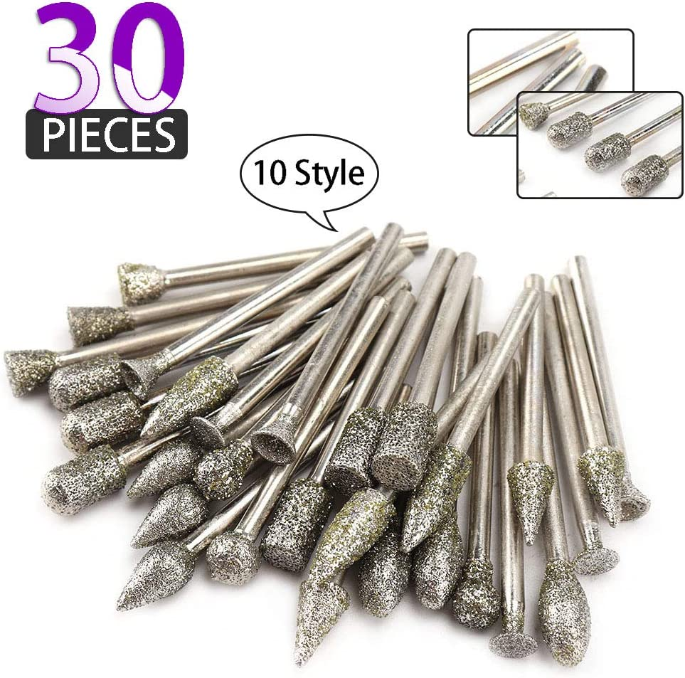 30Pcs Diamond Grinding Burr Drill Bit Mix Set with 1/8-inch Shank 10 Style Grit 60 Diamond Coated Grinding Head For Rotary Tools Stone Carving Accessories Bit Universal Fitment