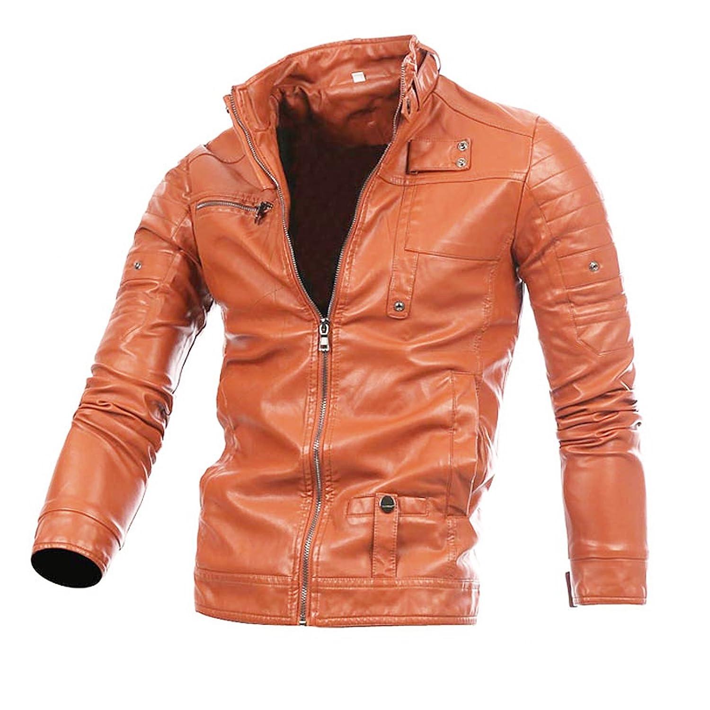 WSLCN Men's Artificial Leather Moto Zipped Biker Jacket Waterproof Coat AW-A191