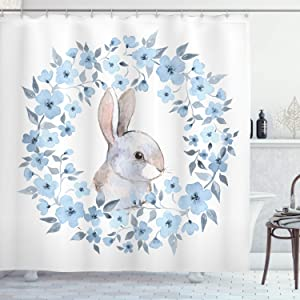 Ambesonne Watercolor Flower Shower Curtain, Bunny Rabbit Portrait in Floral Wreath Illustration Country Style, Cloth Fabric Bathroom Decor Set with Hooks, 70