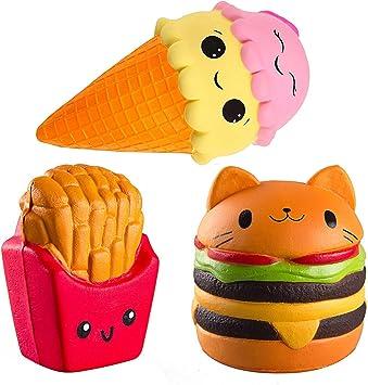 ZhengYue Squishy Kawaii Grandes Juguete Niños Squeeze Hamburguesa Patatas Fritas Helad Squishy Slow Rising Pack Descompresión Juguetes Compresivos: Amazon.es: Juguetes y juegos