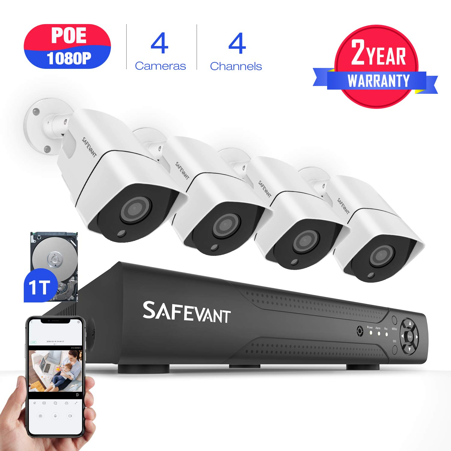 Full HD 1080P Security Camera System PoE,SAFEVANT CCTV Camera Security System with 4pcs Indoor Outdoor 2MP IP Cameras with 1TB Hard Drive for 7 24 Recording