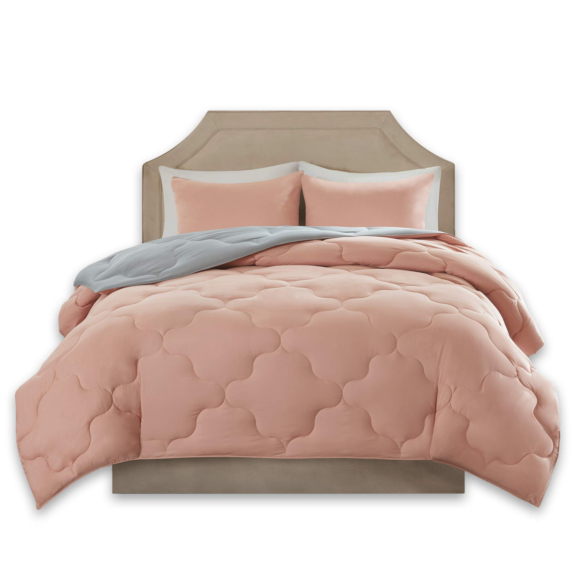 Comfort Spaces – Vixie Reversible Goose Down Alternative Comforter Mini Set - 3 Piece – All Season – Coral and Grey – Full/Queen Size, Includes 1 Comforter, 2 Shams