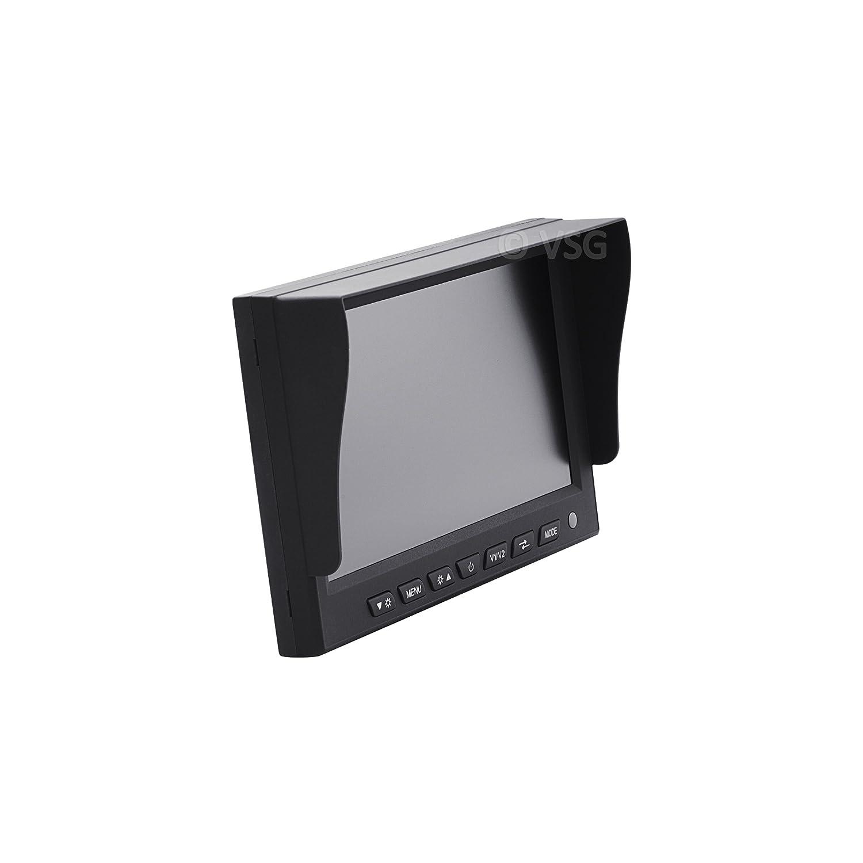 VSG  7 PROFI-R/ückfahrmonitor 2 Videoeing/änge//OFF-Verz/ögerung//e-Zulassung//Kamerastromversorgung//PREMIUM-Serie 12-24 Volt//Distanzlinien//Bildspiegelung