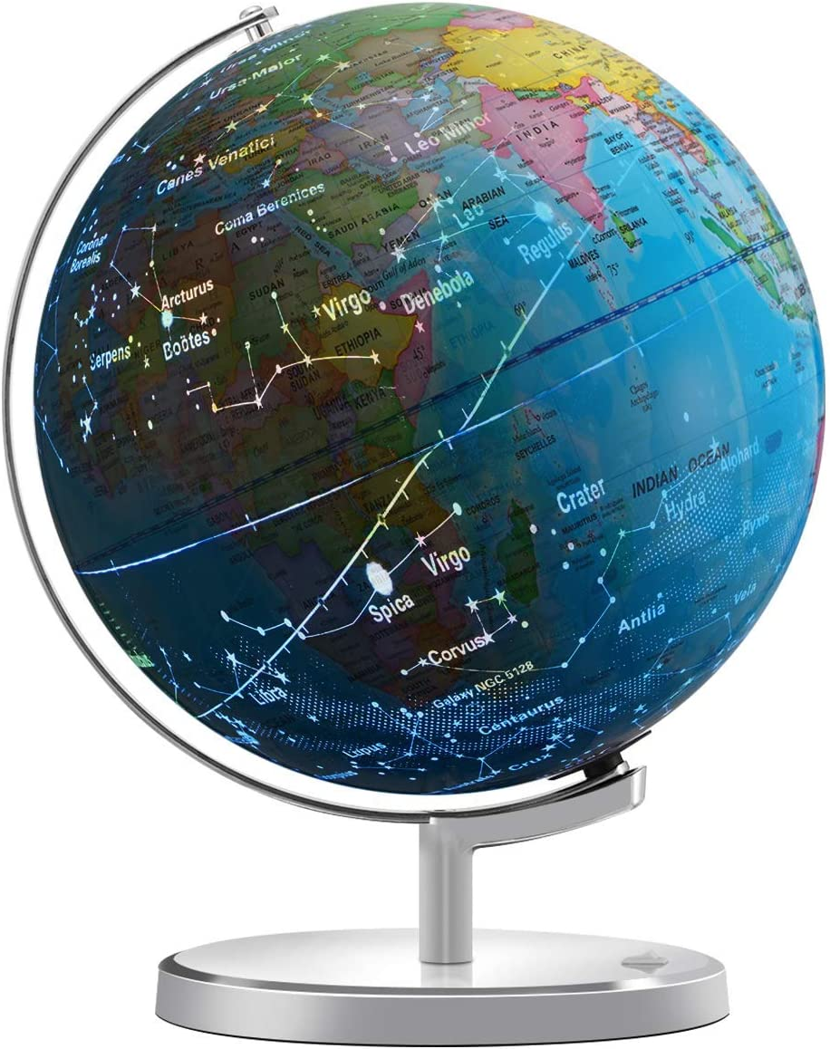 Illuminated Spinning World Globe For Kids Kingso 12 Diameter 3 In 1 World Globe Dispiay Nightlight Earth Globe With Heavy Duty Stand For Kids Led Night Light Lamp Political Map And Constellation