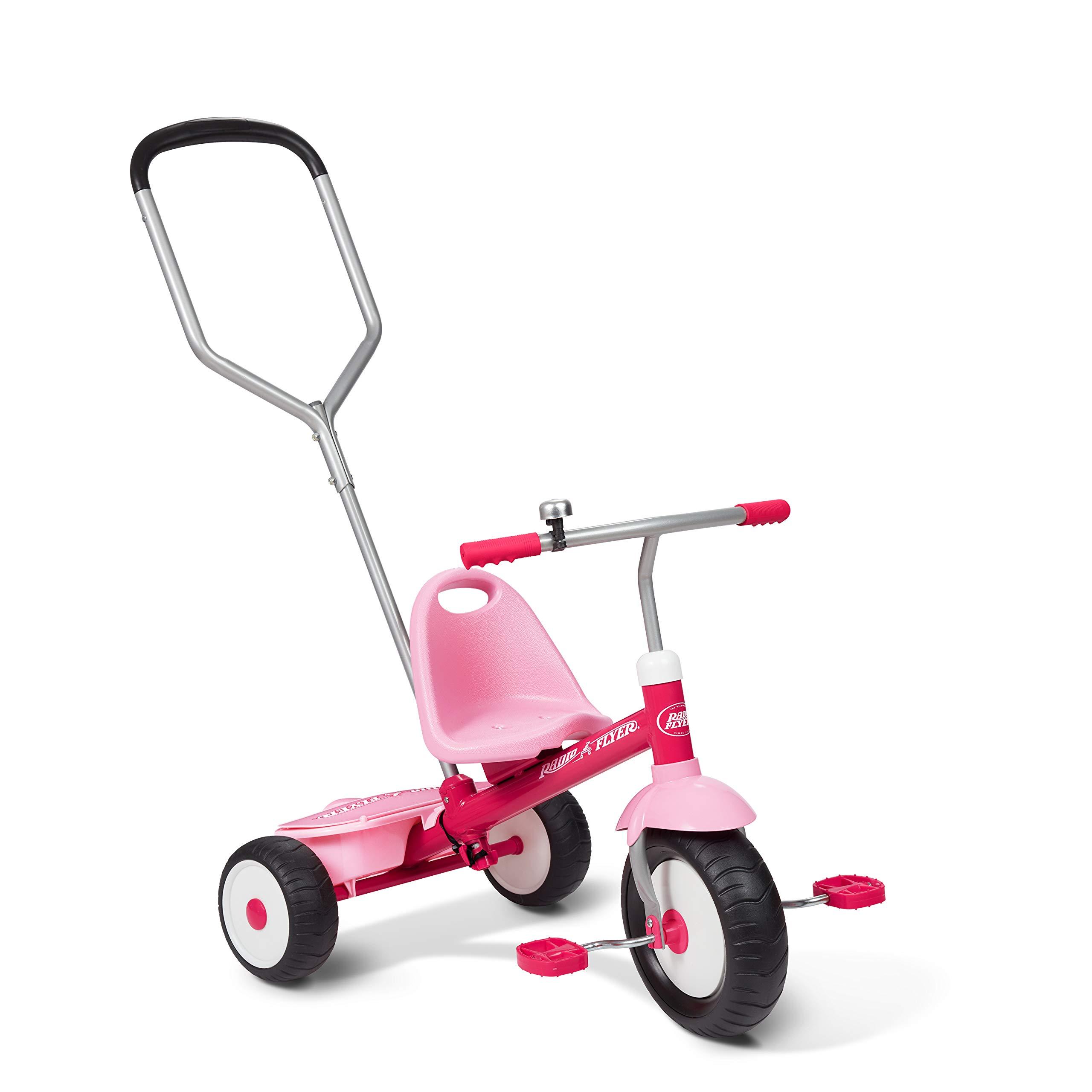 Radio Flyer Deluxe Steer & Stroll Trike, Pink
