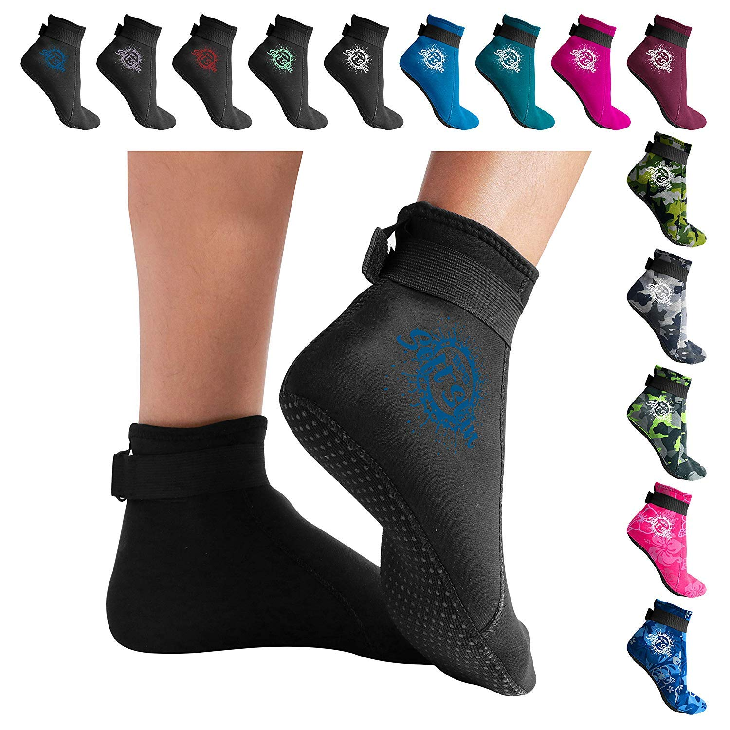 BPS 'Soft Skin' 3mm Neoprene Water Fin Socks w/Grip for Men and Women - Feet Cover for Beach Volleyball, Surfing, Snorkeling, Diving, Kayaking - Low Cut (Black/Snorkel Blue, XS)