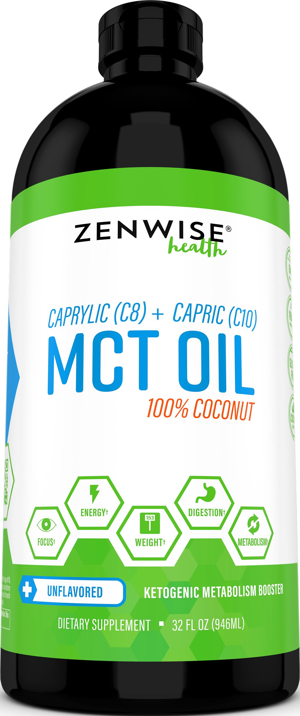 Natural Coconut MCT Oil - 32 OZ C8 & C10 Weight & Energy Supplement - Gluten Free Formula for Metabolism Support - Great for Coffee + Drinks, Smoothies & Salad Dressings - BPA Free