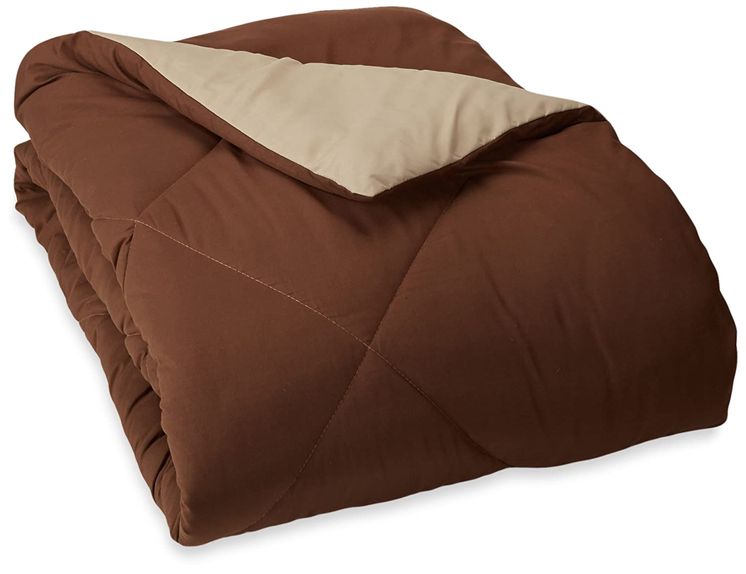 AmazonBasics Reversible Microfiber Comforter - Full/Queen, Chocolate