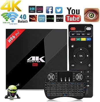 NBKMC H96 Pro + Plus Amlogic S912 Octa-Core Android 7.1 Caja 4K WiFi H.265 Android TV Box Smart TV Box Android H96 TV Box 64 bit Bluetooth 4.1 Mini Keyboard: Amazon.es: Electrónica