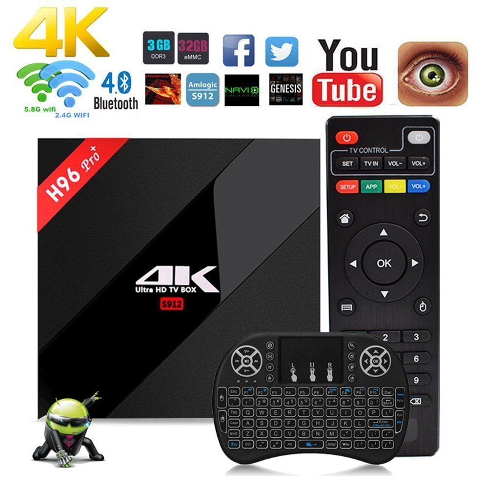 NBKMC H96 Pro + Plus Amlogic S912 Octa-core Android 7.1 CAJA 4K WiFi H.265 Android TV Box Smart TV Box Android H96 tv box 64 Bit Bluetooth 4.1 Mini Keyboard