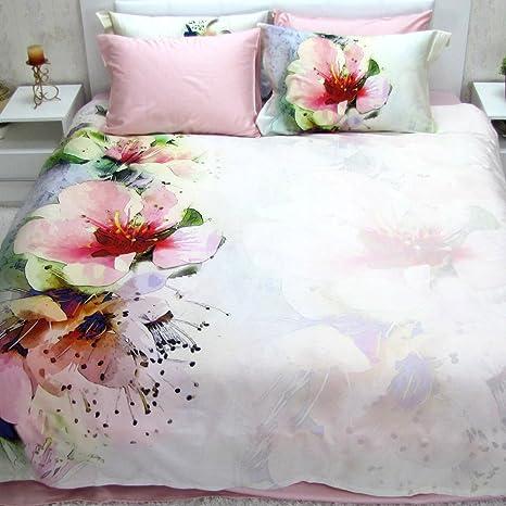 Lenzuola Matrimoniali In 3d.Linen Boutique Completo Lenzuola Matrimoniale 3d Con Copripiumino Satin Di Cotone 100 La Vie En Rose