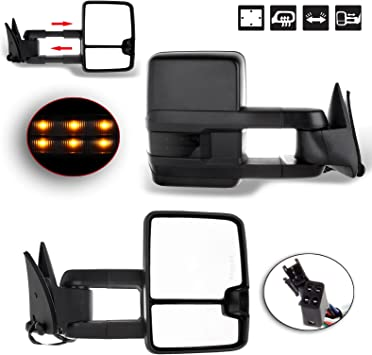 Manual Towing Tow Hauling Mirror LED SIGNAL Fits 88-98 Chevy C//K 1500//2500//3500