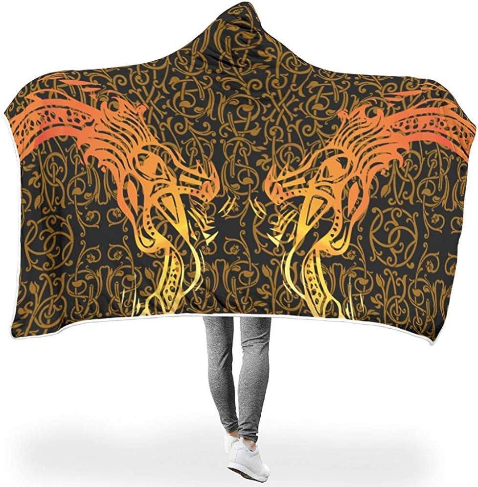 Emily-Shop Manta con Capucha de dragón de Oro Negro