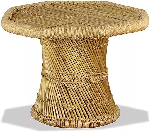 tiauant Mobiliario Mesas Mesas Decorativas Mesas de Centro Mesa de Centro Octagonal Bambu 60x60x45 cm mesas de Centro de Cristal templado0: Amazon.es: Hogar