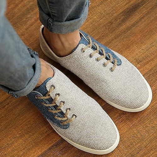 Barco Zapatos Holgazanes Primavera Verano japonés Estilo Casual De los hombres Moda Lino Zapatos (EUR41: apropiado para 40, Marrón)