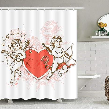 Digital Printed Waterproof Square Bathroom Shower Curtain with 12 Hooks