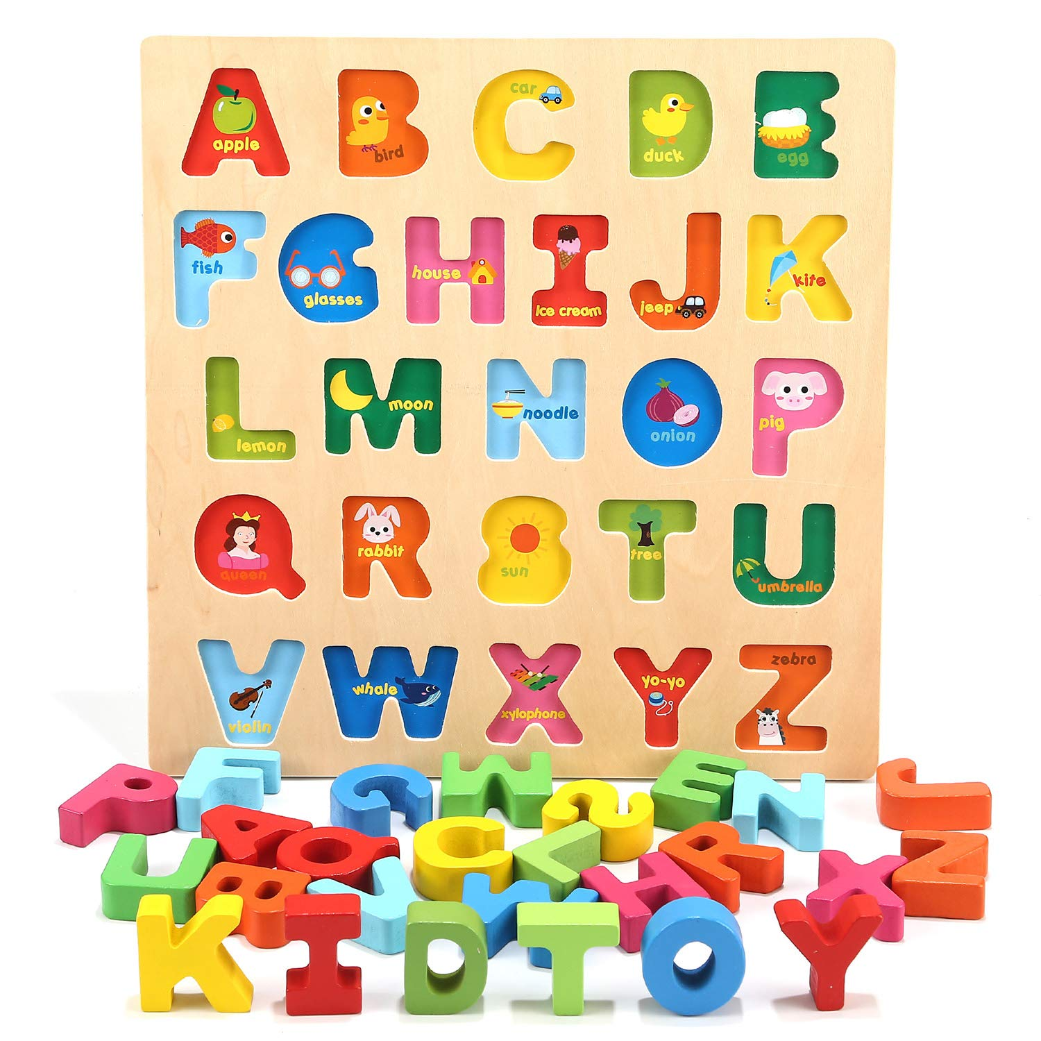 Jamohom Wooden Alphabet Puzzle Baby Learning Letters Blocks ABC Chunky  Puzzle Educational Toys for Boy and Girl Gifts