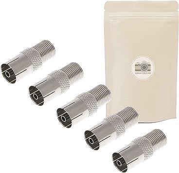 5X Adaptador Antena TV Coaxial Hembra a Conector de Rosca Tipo F Base Cable