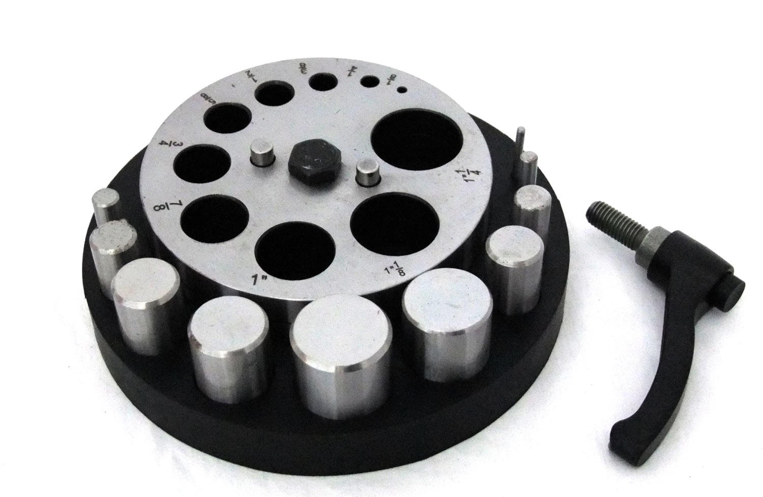 Very Large Disc Cutter 1/8'' To 1 1/4'' With 10 Punches In Rubber Base