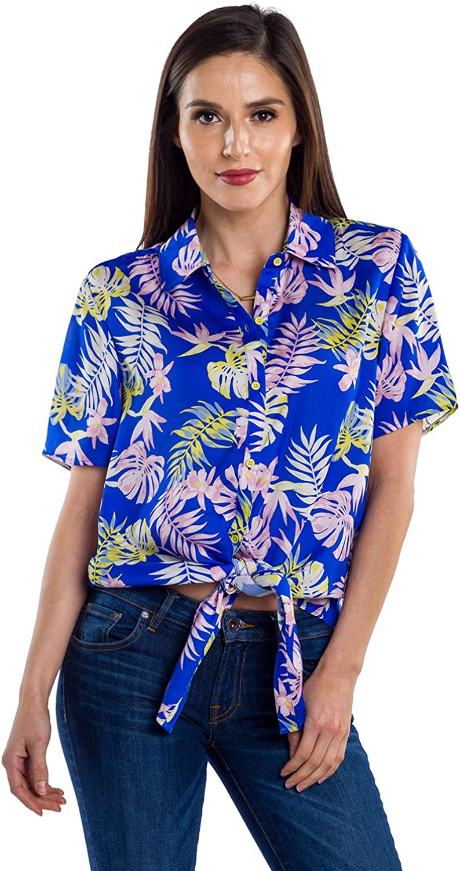 80s Tops, Shirts, T-shirts, Blouse Womens Bright White Cactus Hawaiian Shirt for Summer - Tropical Tie Front Top Aloha Shirts $32.95 AT vintagedancer.com