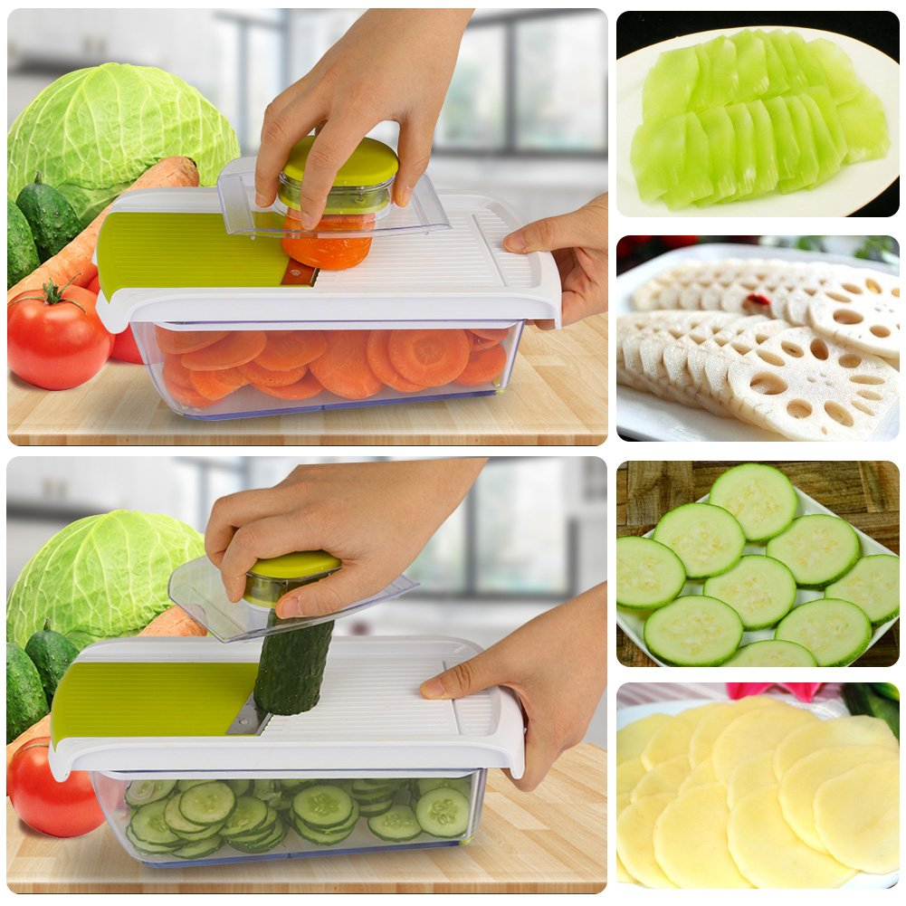 Adjustable Mandoline Food Slicer - 4 Blades - Vegetable Cutter, Cheese Grater, Julienne Vegetable Slicer & Fine Grater - Compact, Veggie Slicer Kitchen Gadget Slicer Dicer, Dishwasher Safe by Chugod (Image #7)