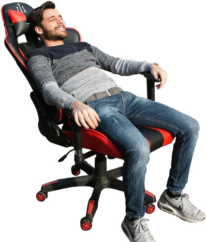 Triton p050-f1-br Gaming Chair-sedia, Simili Cuir, Noir/Rouge, 75x 60x 140cm