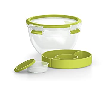Emsa Clip&Go Saladbox - Recipiente hermético de plástico 0,6 L, ensalada Bowl redondo