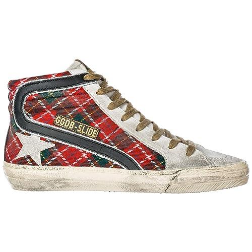 13f745f808 Golden Goose Sneakers Alte Slide Donna Red Tartan Wool - Ice Star ...