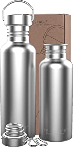 TRIPLE TREE Stainless Steel Water Bottle 34/30/26/17oz 18/8 for Cyclists, Runners, Hikers, Beach Goers, Picnics, Camping - BPA Free