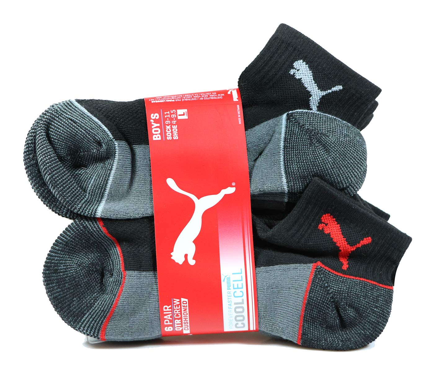PUMA Boy's Quarter Crew Low Cut Socks - 6 Pairs, Shoe Size 4-9.5 Shoe Size 4-9.5 (Blue/Black)