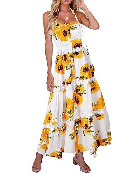 ada1b18ffe Blooming Jelly Women s A Line Sunflower Button Up Summer Beach Maxi Dress  Women Multicoloured S