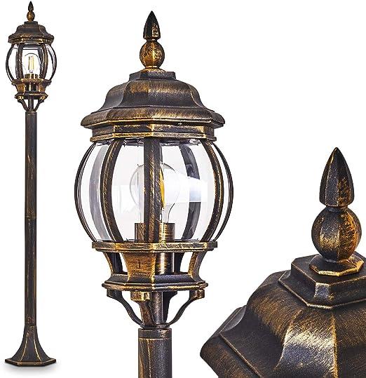 Außen Leuchte Stand Boden Garten Wege Lampe Licht Beleuchtung schwarz gold NEU