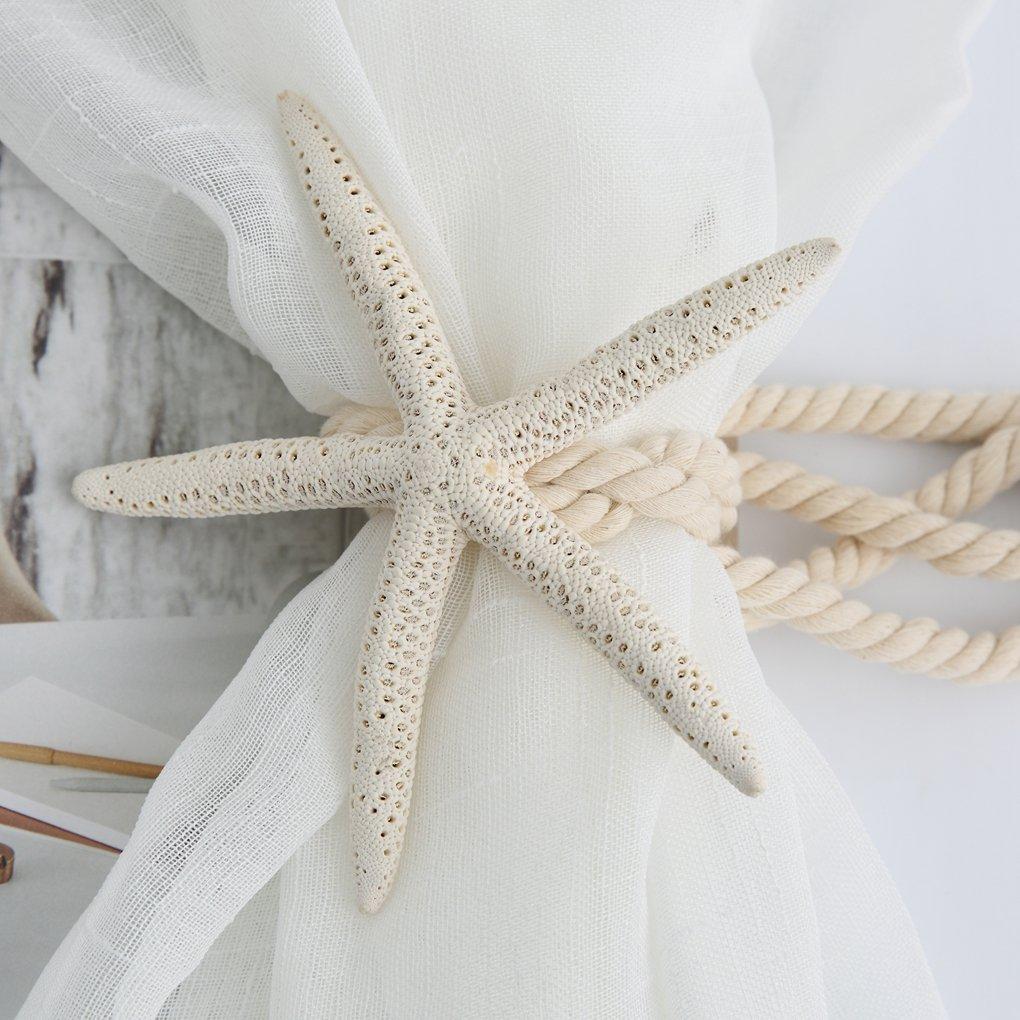 Natural Starfish Double Curtain Tiebacks Cotton Rope Unique Decorative Window Holdback Holder Hook Draperies