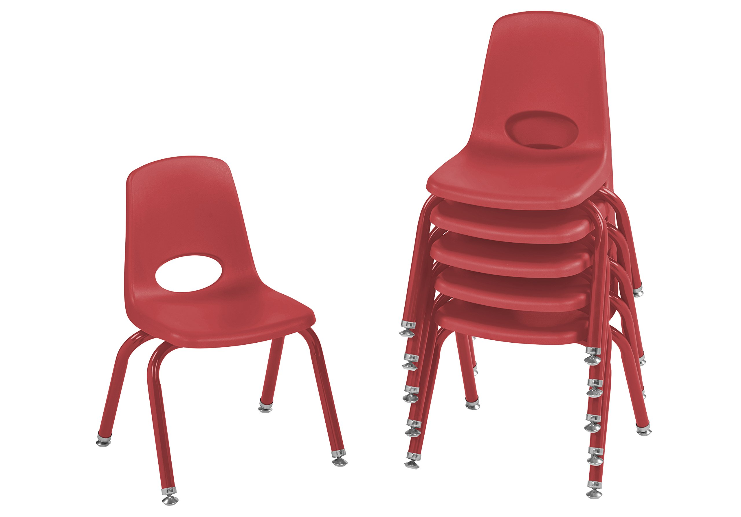 ECR4Kids 12'' School Stack Chair with Powder Coated Legs and Nylon Swivel Glides, Red (6-Pack)