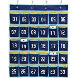 Hipiwe Numbered Classroom Organizer Pocket Chart for Cell Phones Calculator Holders with Hooks (30 Pockets)