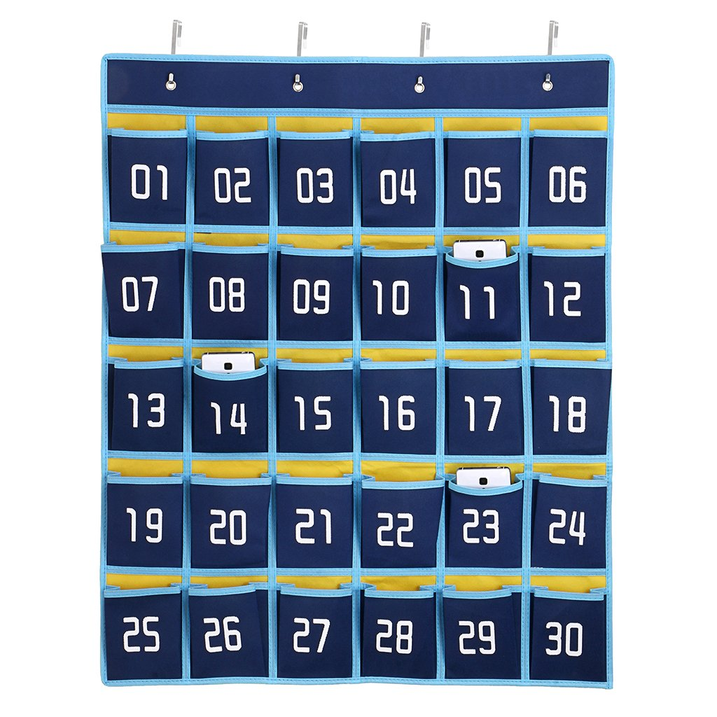 Hipiwe Numbered Classroom Organizer Pocket Chart for Cell Phones Calculator Holders with Hooks (30 Pockets, Blue Pockets)