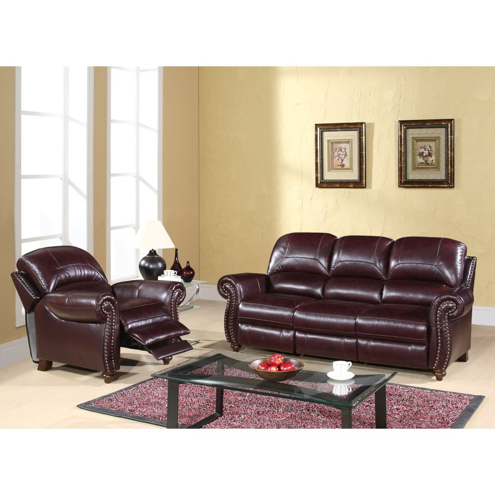 Bon Abbyson CH 8857 BRG 3 1 Madison Leather Pushback Reclining Sofa And Chair  Set: Amazon.co.uk: Kitchen U0026 Home