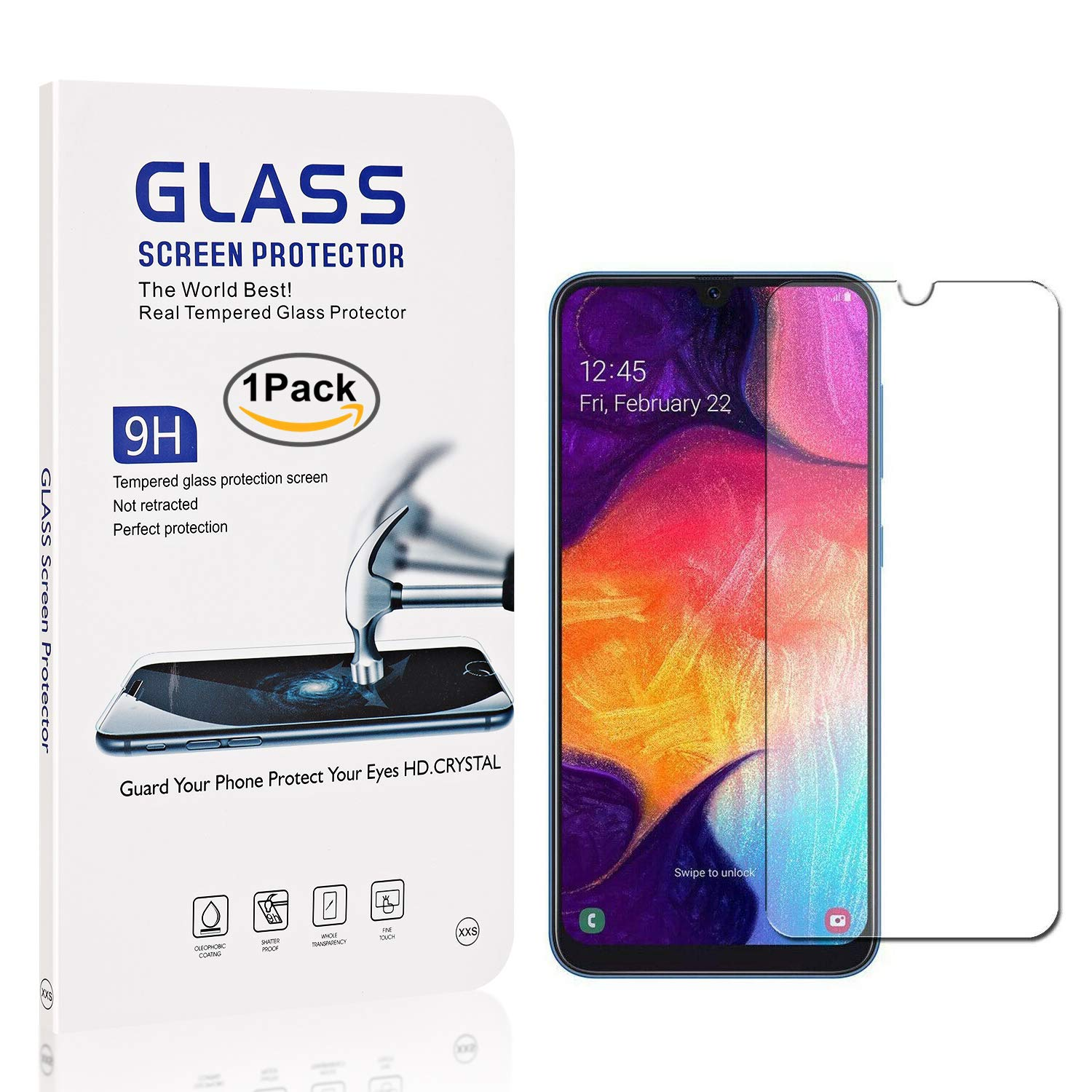Anti Scratch Screen Protector Bear Village/® Tempered Glass Screen Protector for Galaxy A30 3 Pack 9H Hardness Screen Protector Film for Samsung Galaxy A30