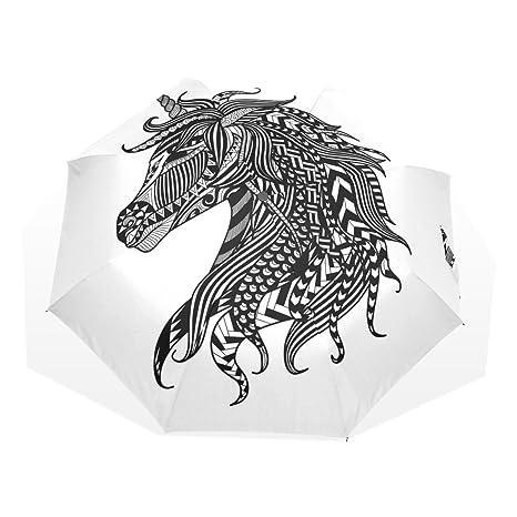 Sr. Weng hogar cabeza de caballo lluvia paraguas para resistente al viento y UV Protección