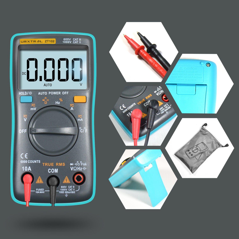 OHM Temp Ciclo de trabajo Probador de continuidad Hz URXTRAL 6000 Counts Mult/ímetro digital de rango autom/ático TRMS Multi Tester con luz de fondo Medir Temperatura AC DC
