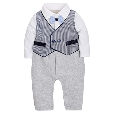 Zoerea 1PC Baby Junge Strampler Lange /Ärmel Kleidung Baumwolle f/ür Fr/ühling Sommer Taufe Hochzeitsfeier