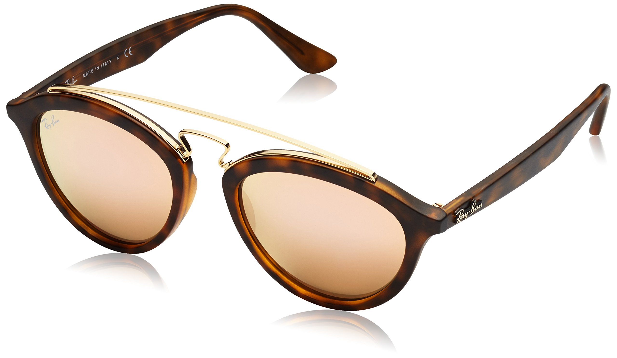 Ray-Ban INJECTED WOMAN SUNGLASS - MATTE HAVANA Frame LIGHT BROWN MIRROR PINK Lenses 50mm Non-Polarized
